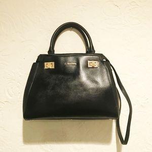 Calvin Klein Black Leather Turnlock Satchel